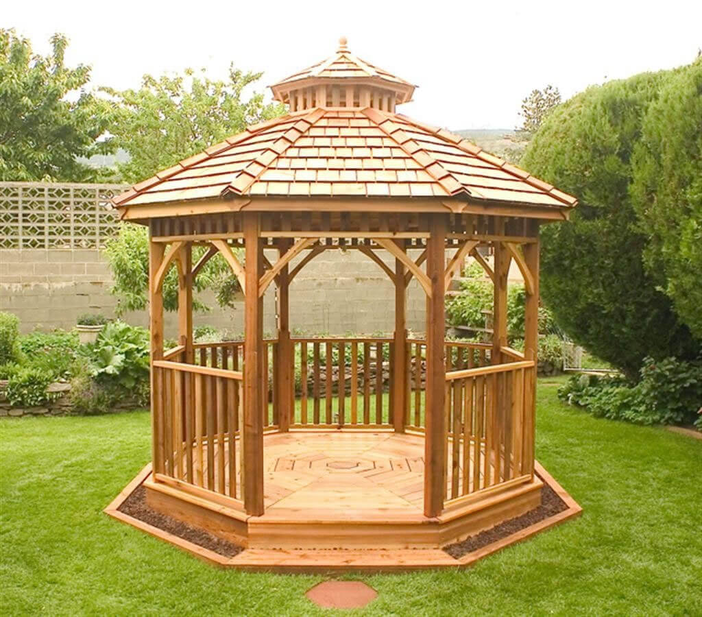 14 cedar wood gazebo designs octagon rectangle hexagon for Pavilion style home designs