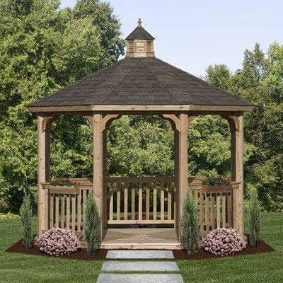 14 cedar wood gazebo designs octagon rectangle hexagon. Black Bedroom Furniture Sets. Home Design Ideas