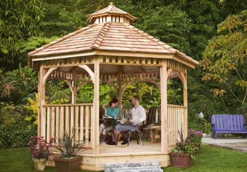 14 cedar wood gazebo designs octagon rectangle hexagon for Premade roof