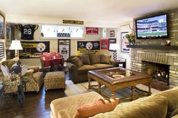 Elegant man cave with sports memorabilia