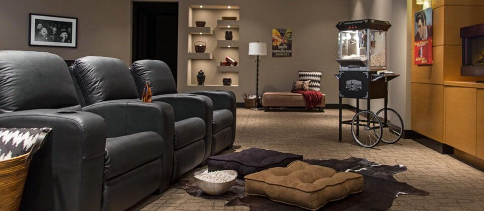 Basement man cave with theater seating