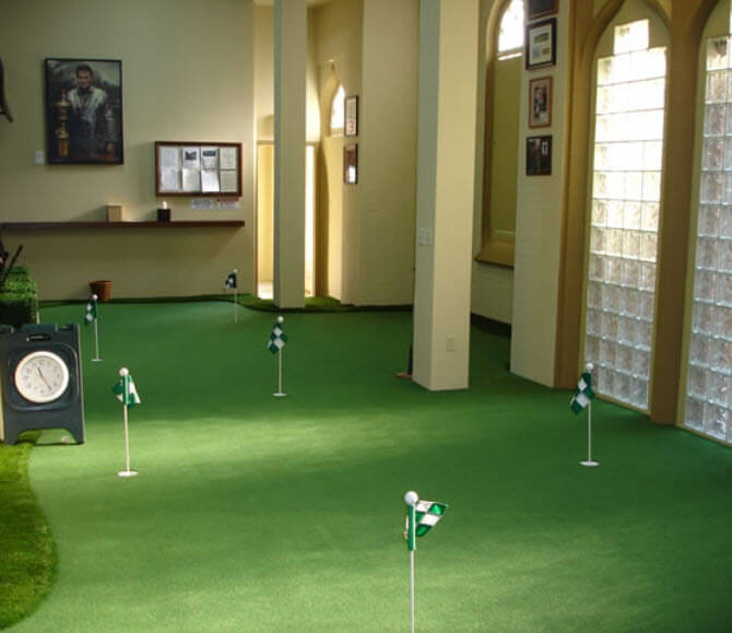 Here's a fun room concept for avid golfers. You can certainly add a putting green into your finished basement... of course it need not be this big