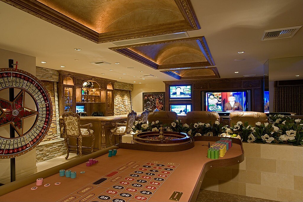 Gambling, a bar, theater seating and five televisions. It doesn't get much better than this.