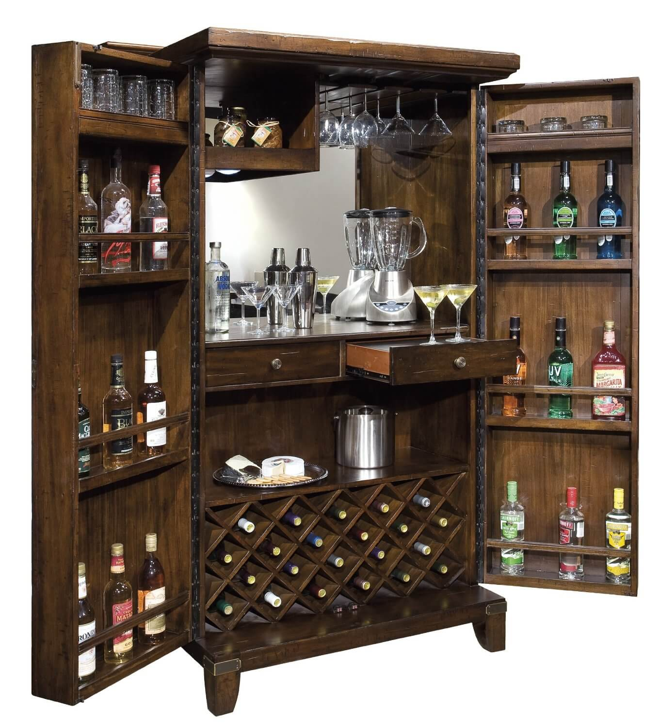 Standing wine cabinet that opens up and includes wine storage at the ...