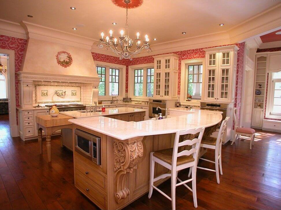 Large White Kitchen With Red And White Wallpaper This Kitchen Contains 2 Large Islands One For