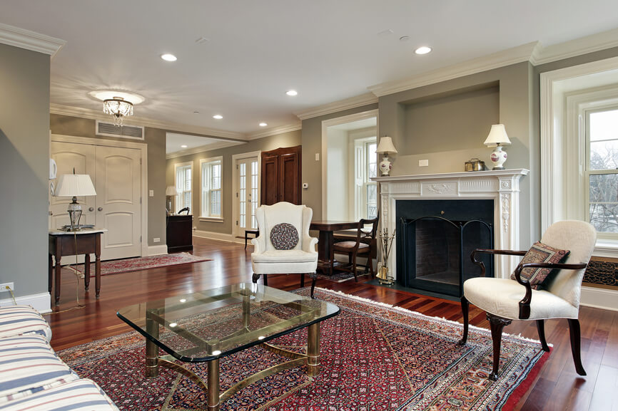 Small Formal Living Room Off The Foyer Of Upscale Home Wood Floors