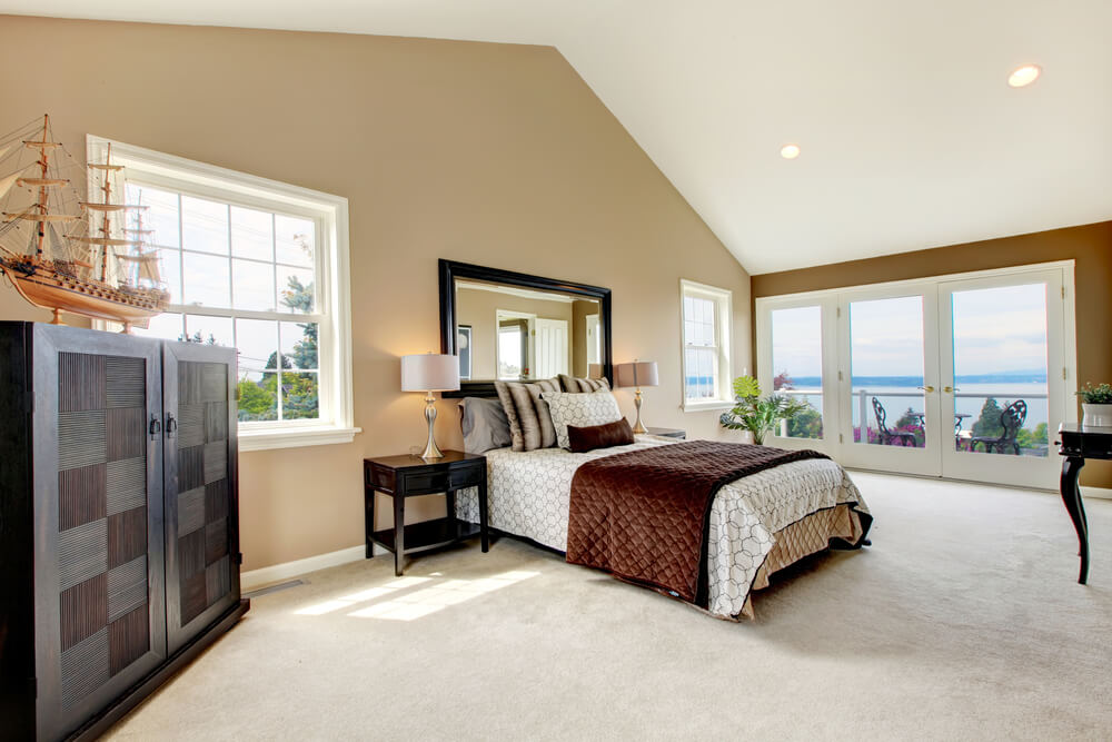 Size, view and cathedral ceiling make this bedroom