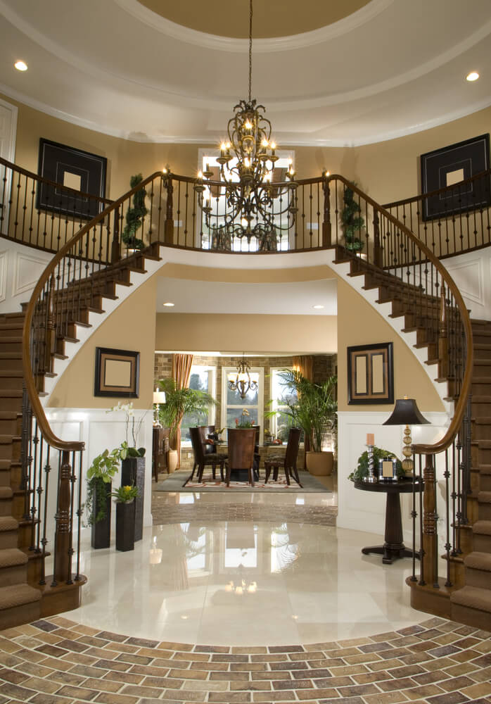 Living room mediterranean staircase los angeles by la design - 45 Custom Luxury Foyer Interior Designs