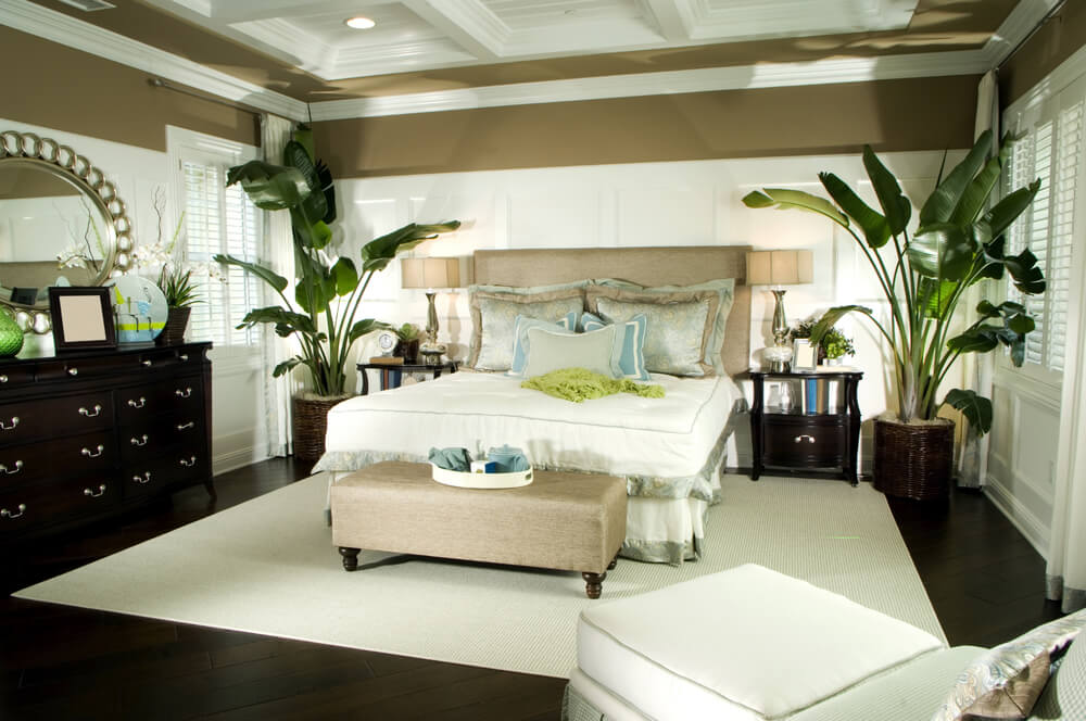 Tropical bedroom design with large potted plants with dark brown and white color scheme.