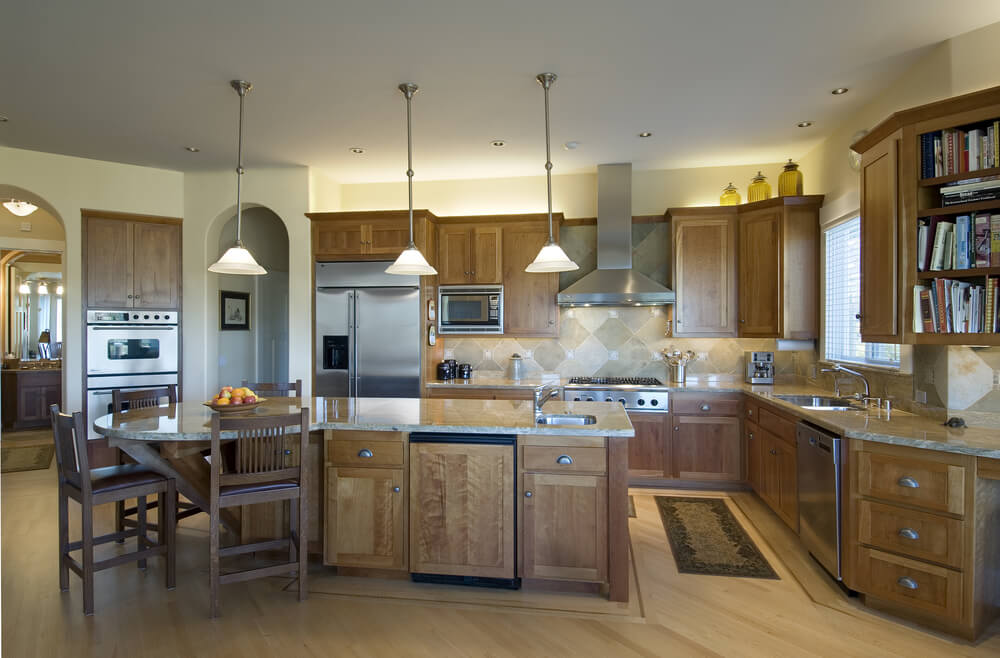 Contemporary Kitchen Design With Long Island A Round .