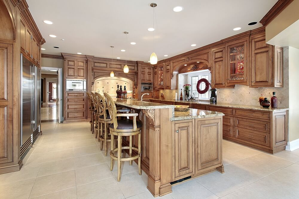 All Wood Kitchen With Large 2 Tiered Kitchen Island With Custom Stools