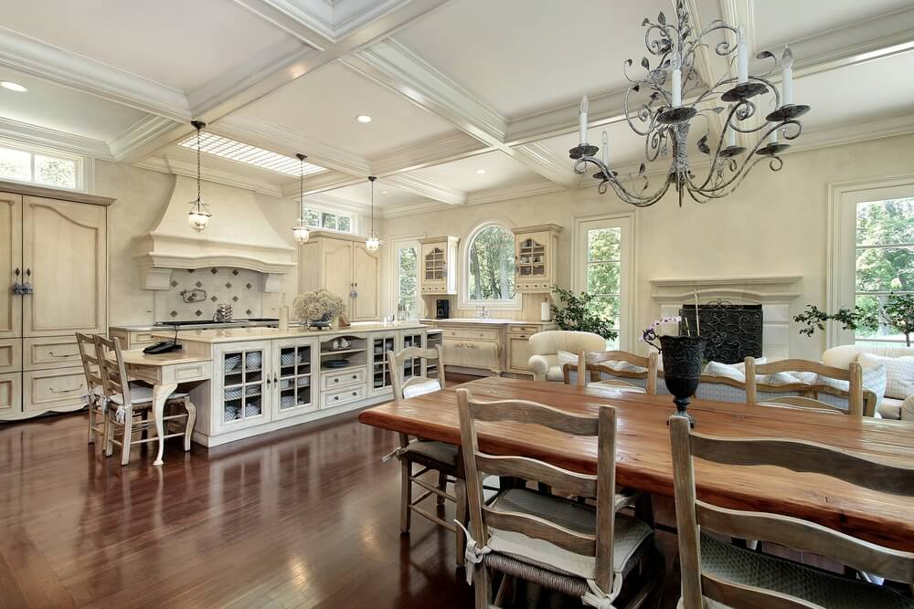 Open Living White Kitchen With Elaborate Rectangle Kitchen Island