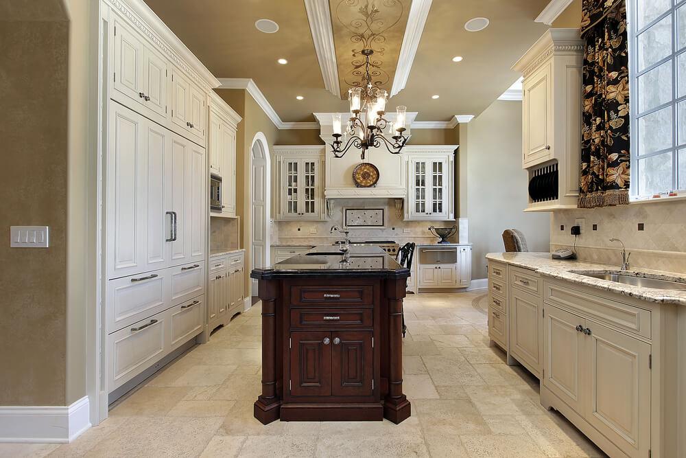 64 deluxe custom kitchen island designs beautiful for Dark brown kitchen walls