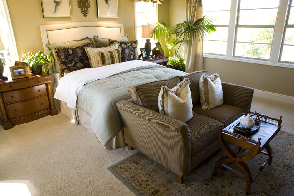 Small master bedroom made luxurious through design and not size