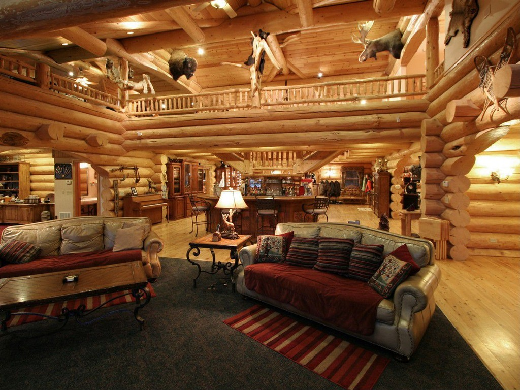 54 lofty loft room designs for Log cabin with loft