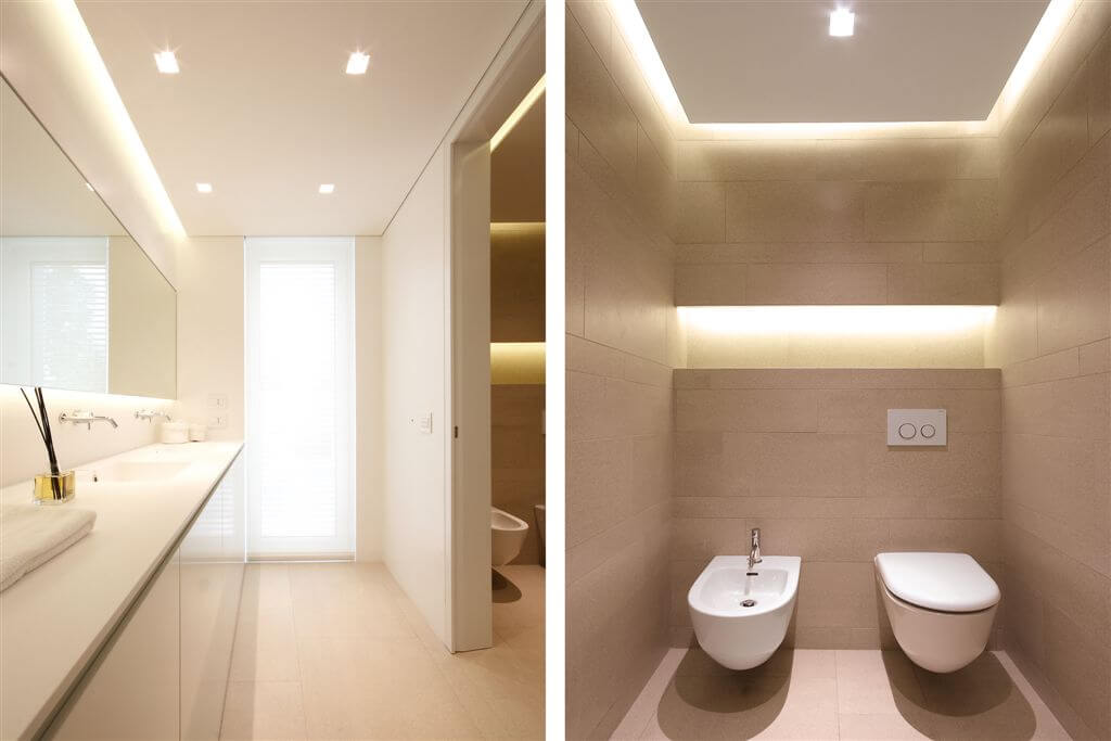 Jesolo lido pool villa custom home design by jm architecture for Contemporary bathroom ceiling lights