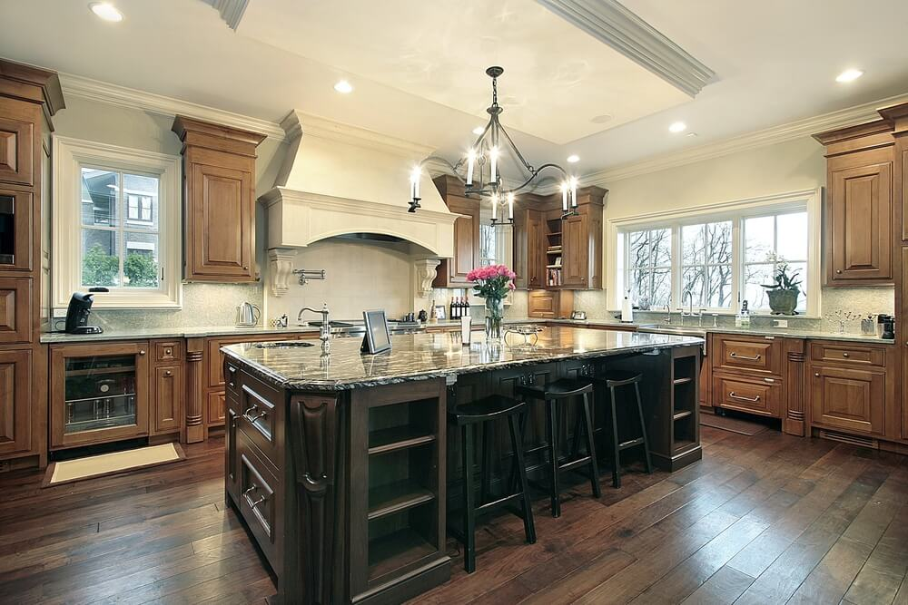 53 spacious new construction custom luxury kitchen designs for Square kitchen designs with island