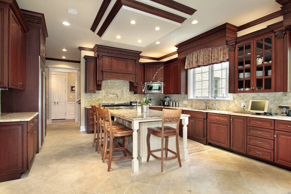 This Kitchen Including In The Ceiling Design However A White Island