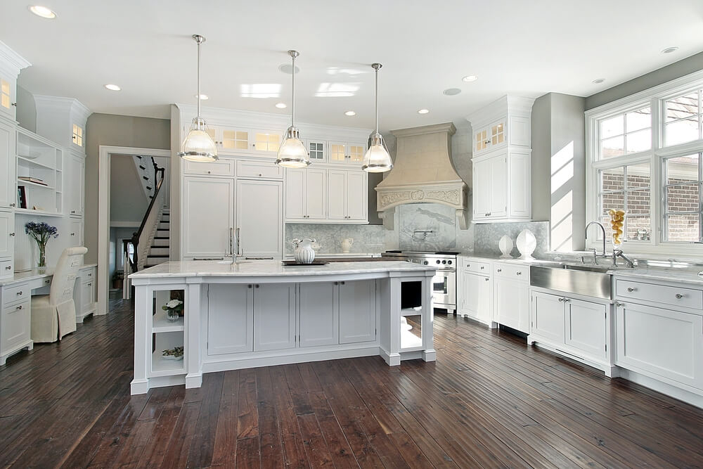 53 spacious new construction custom luxury kitchen designs - White kitchen with dark island ...