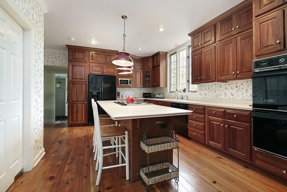43 new and spacious darker wood kitchen designs layouts for Dark wood kitchens with light countertops