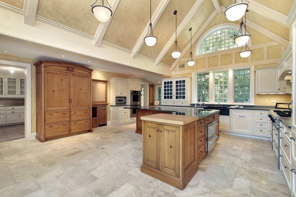 53 spacious new construction custom luxury kitchen designs for Kitchen designs with cathedral ceilings