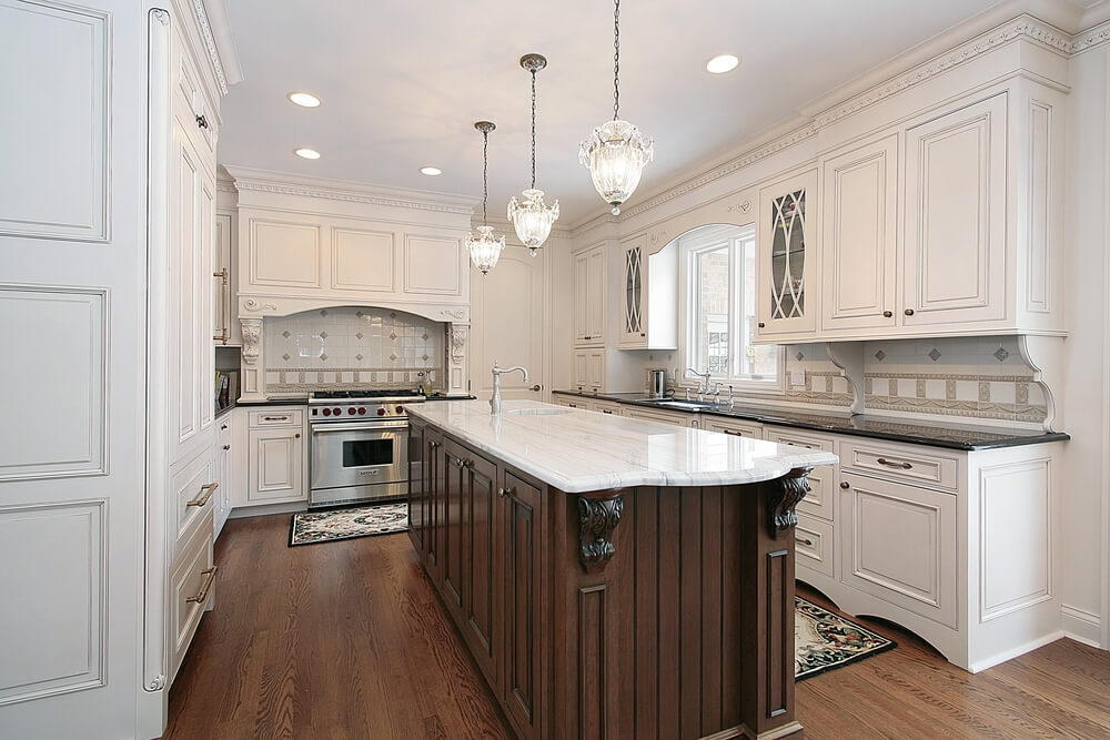 31 Quot New Quot Custom White Kitchens With Wood Islands