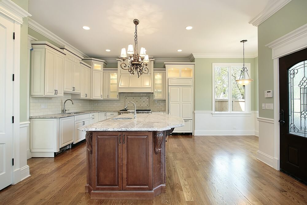 31 new custom white kitchens with wood islands for Very large kitchen island