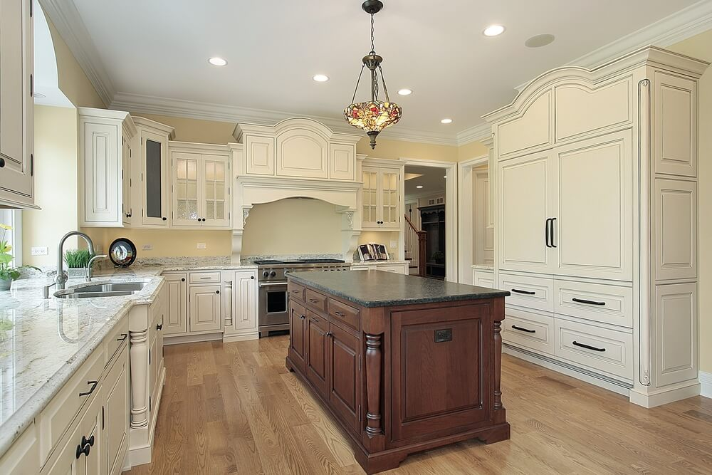 53 spacious new construction custom luxury kitchen designs for Antique white kitchen cabinets with dark island