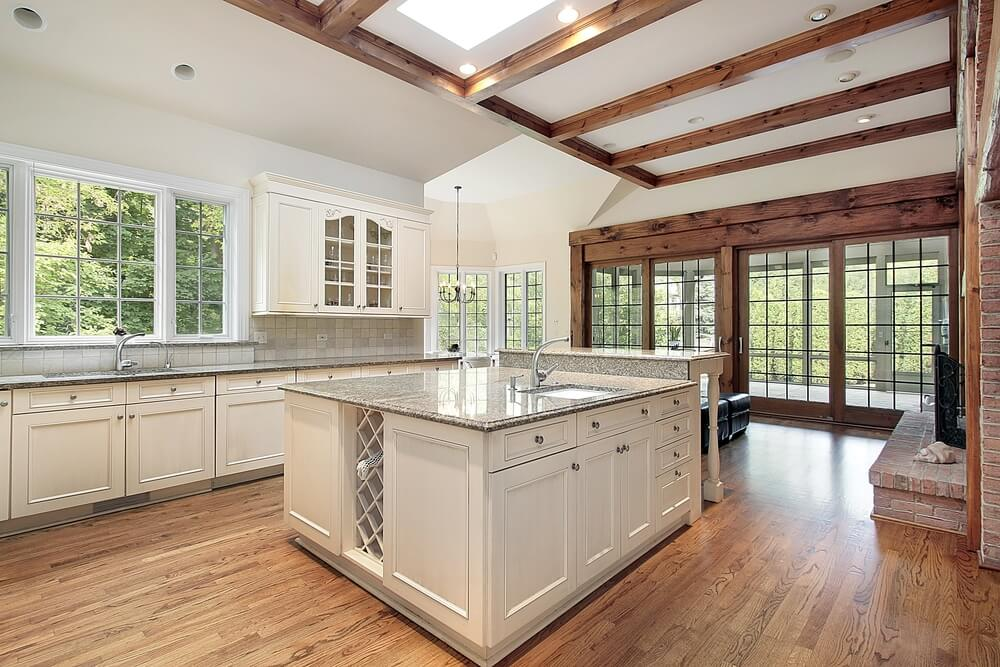 36 brand new all white kitchen layouts designs photos for Natural wood beams