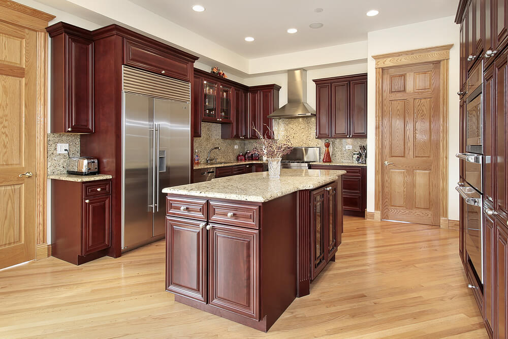 43 new and spacious darker wood kitchen designs layouts for Cherry wood kitchen cabinets