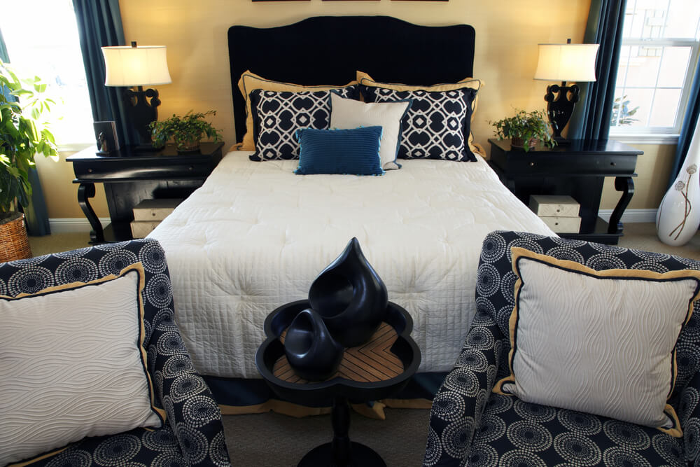 pics photos navy blue white and gold bedroom