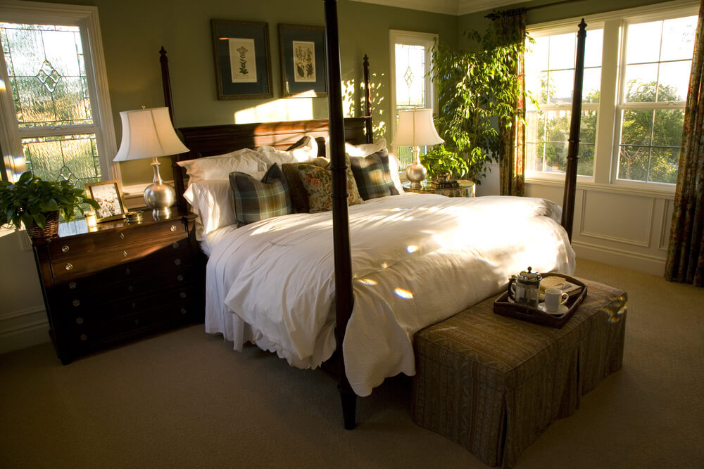 54 richly decorated smaller master bedroom designs - Brown and green bedroom ...