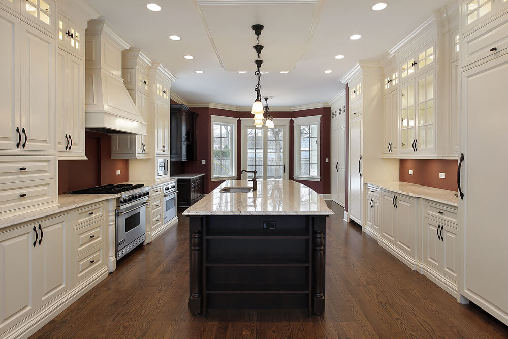 53 spacious new construction custom luxury kitchen designs for Galley style kitchen with island