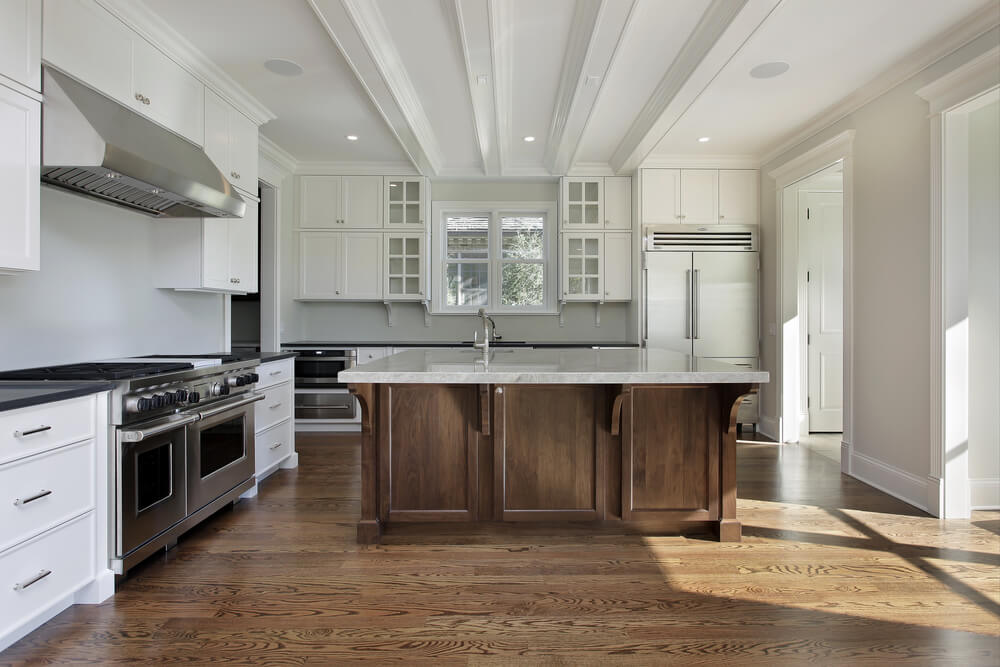 31 new custom white kitchens with wood islands for White hardwood floors design ideas