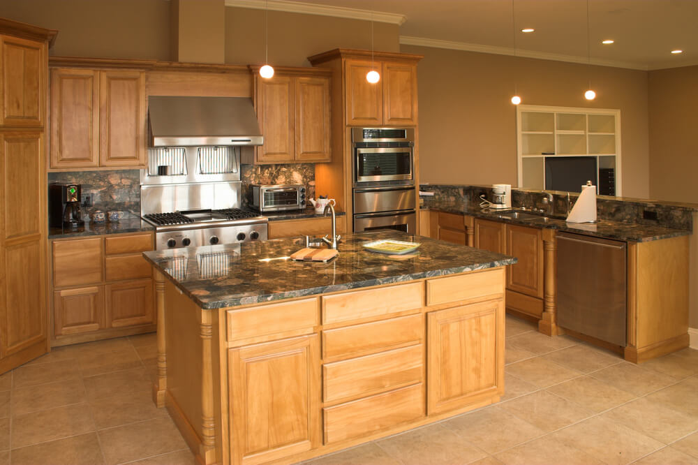 Countertop Microwave Beige : Beige tile flooring supports almost wholly natural wood toned kitchen ...
