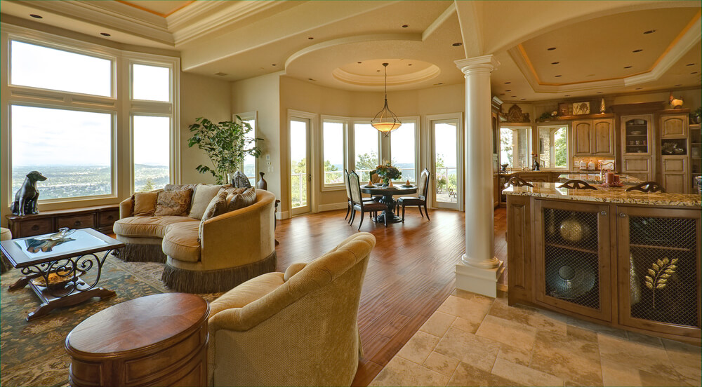 51 grand living room interior designs for Dining room designs with pillars