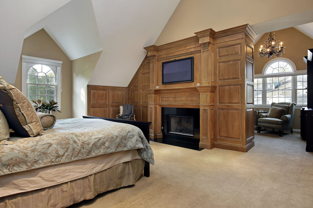 43 spacious master bedroom designs with luxury bedroom furniture Master bedroom with fireplace images