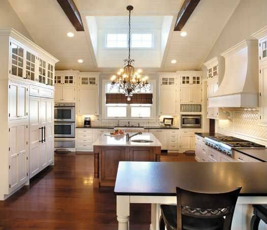 White Kitchen Vaulted Ceiling: 48 Luxury Dream Kitchen Designs Worth Every Penny (Photos