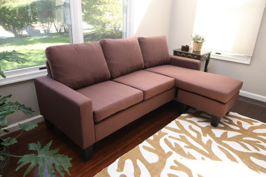 A Lovely Dusky Brick Colored Sectional Sofa With Easy To Clean Linen  Upholstery And An Part 63