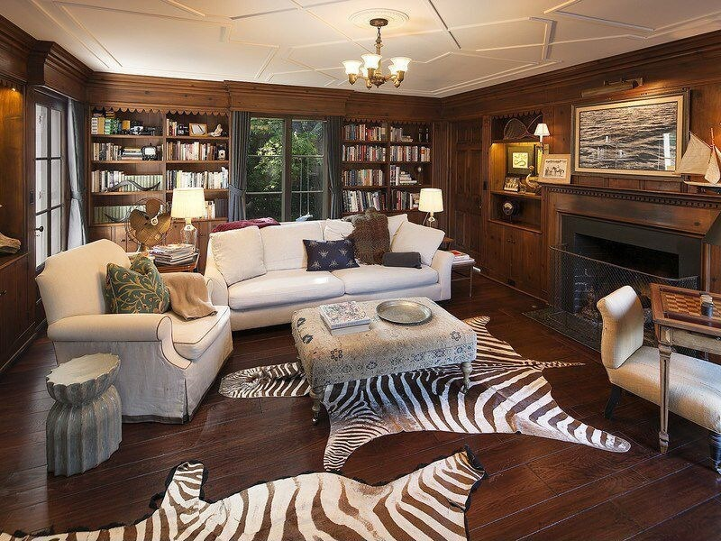 17 zebra living room decor ideas pictures for Living room ideas with wood paneling