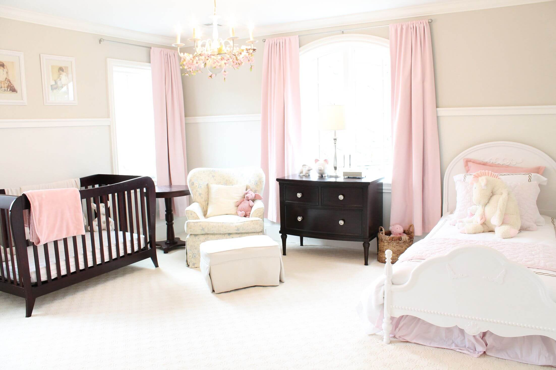 Baby Girl Furniture : Pure white mixed with subtle splashes of pink in this large nursery ...