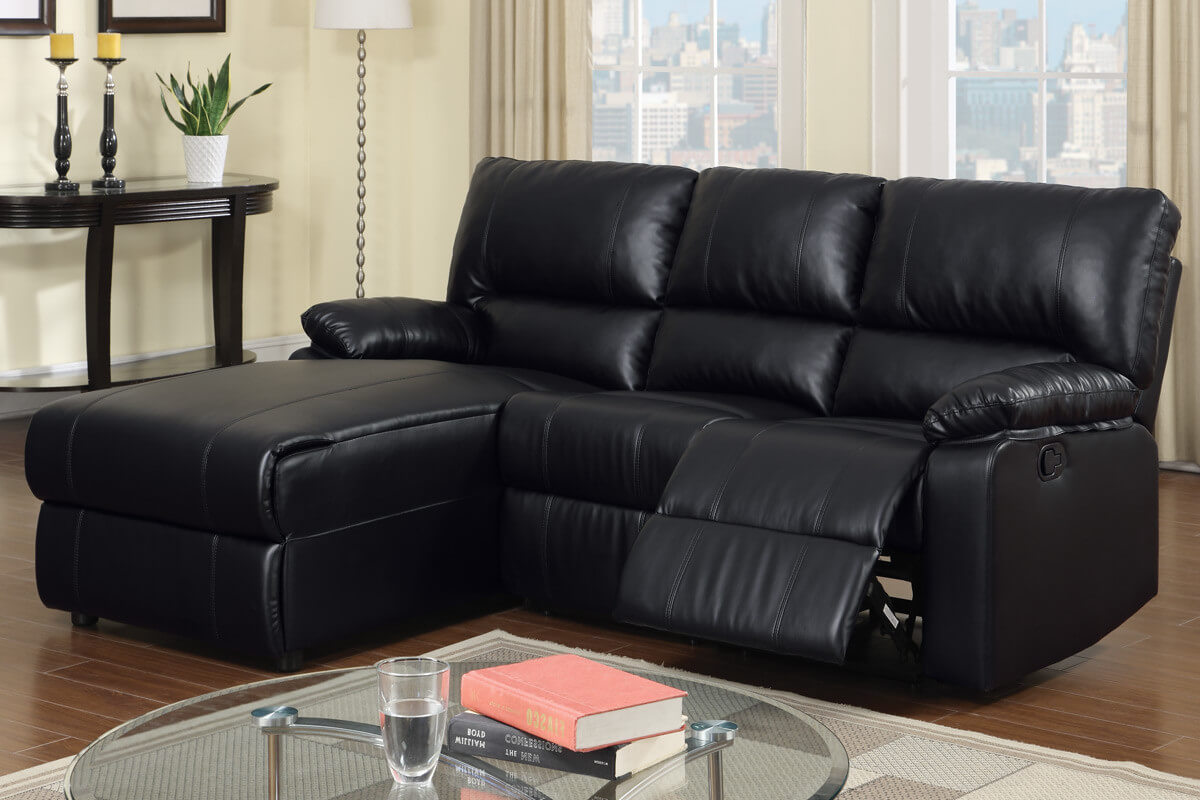37 beautiful sectional sofas under 1 000 for Black leather sofa chaise lounge