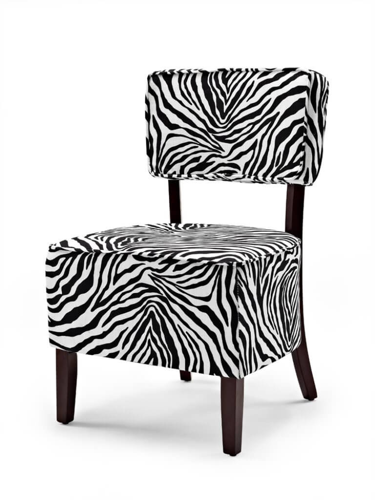 This zebra print accent chair is a great deal priced just under $100