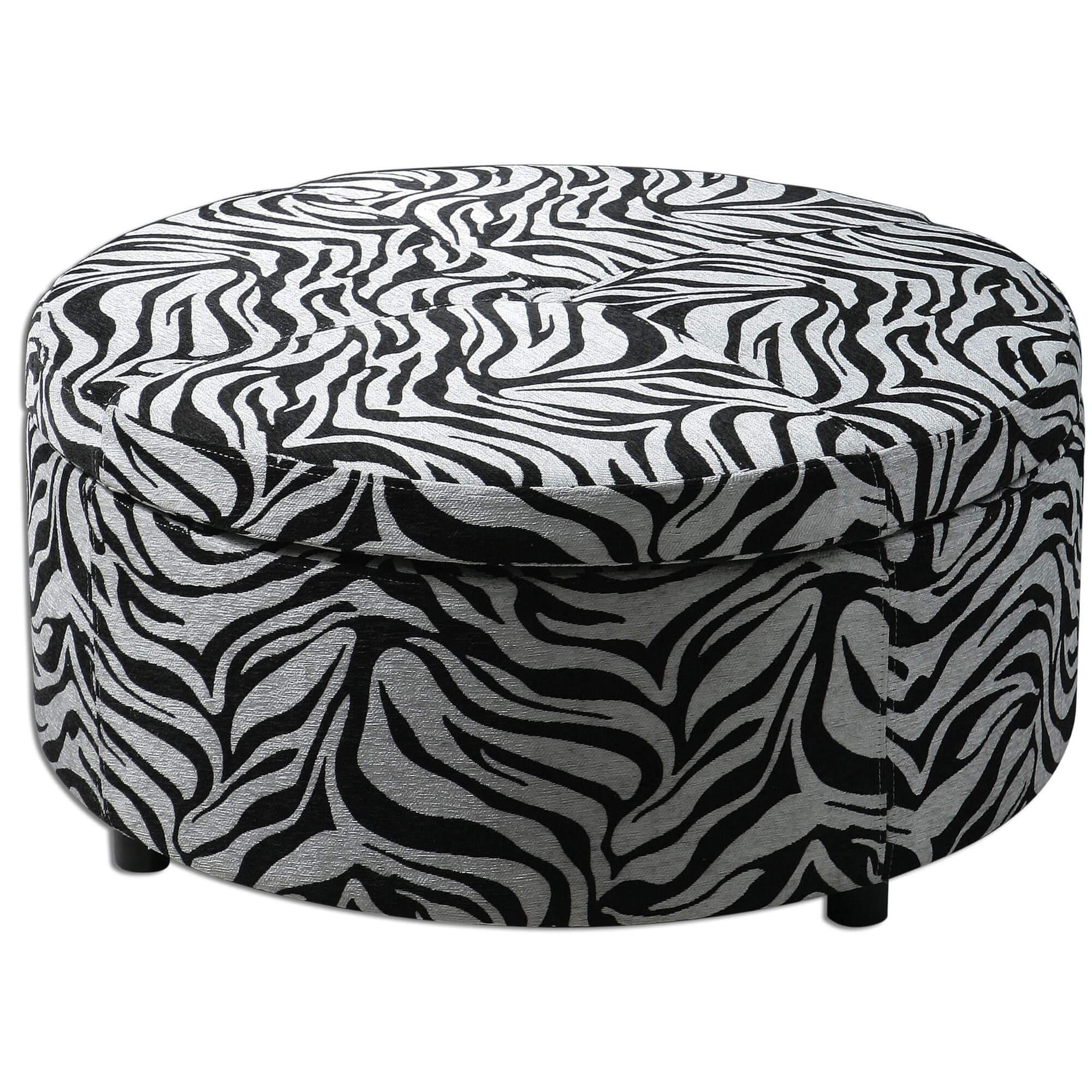 Round Zebra Print Ottoman