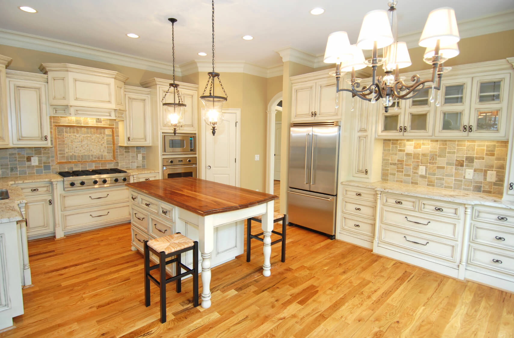 Open Plan Kitchen Mixes Light Beige Natural Wood And White Tones For