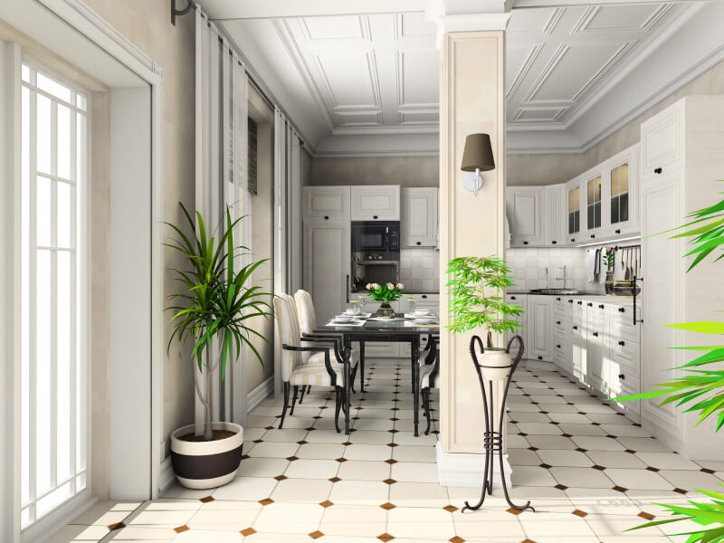 black and white floor tile kitchen. White cabinetry  Kitchen Cabinets Beige Floor Quicua com