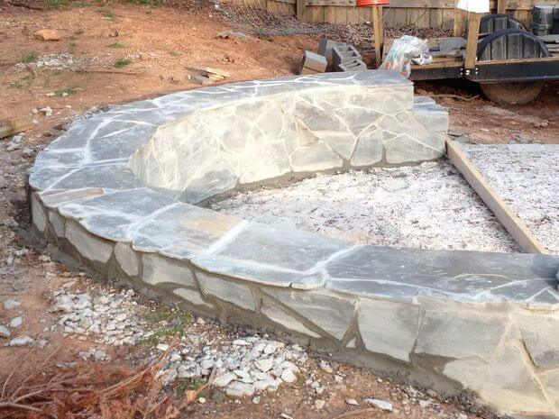 Fire Rock Mortar : How to build a fire pit with circular wrap around veneer patio