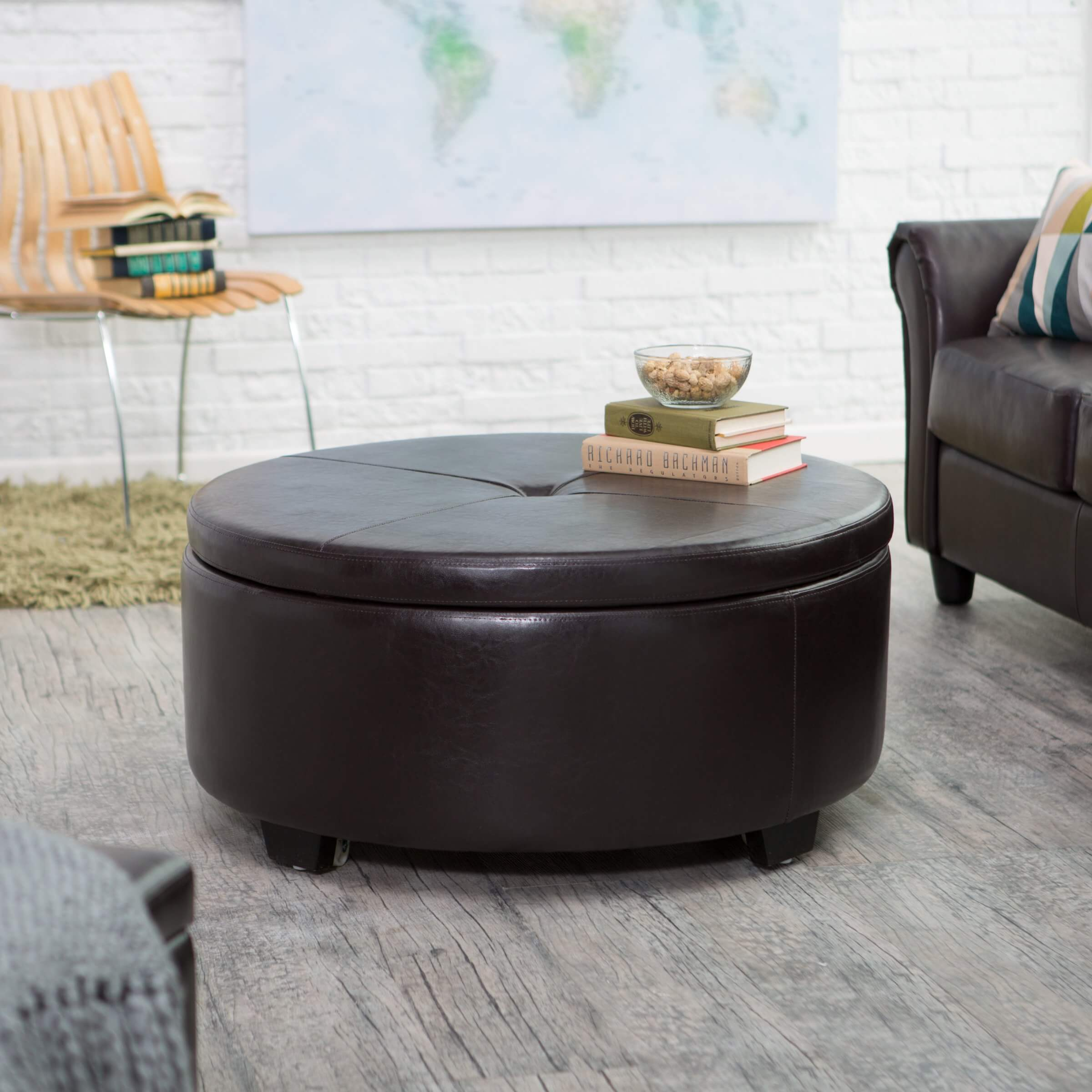 Ottoman Has Flip Top Button Tufted Lid Featuring Full Coffee Table