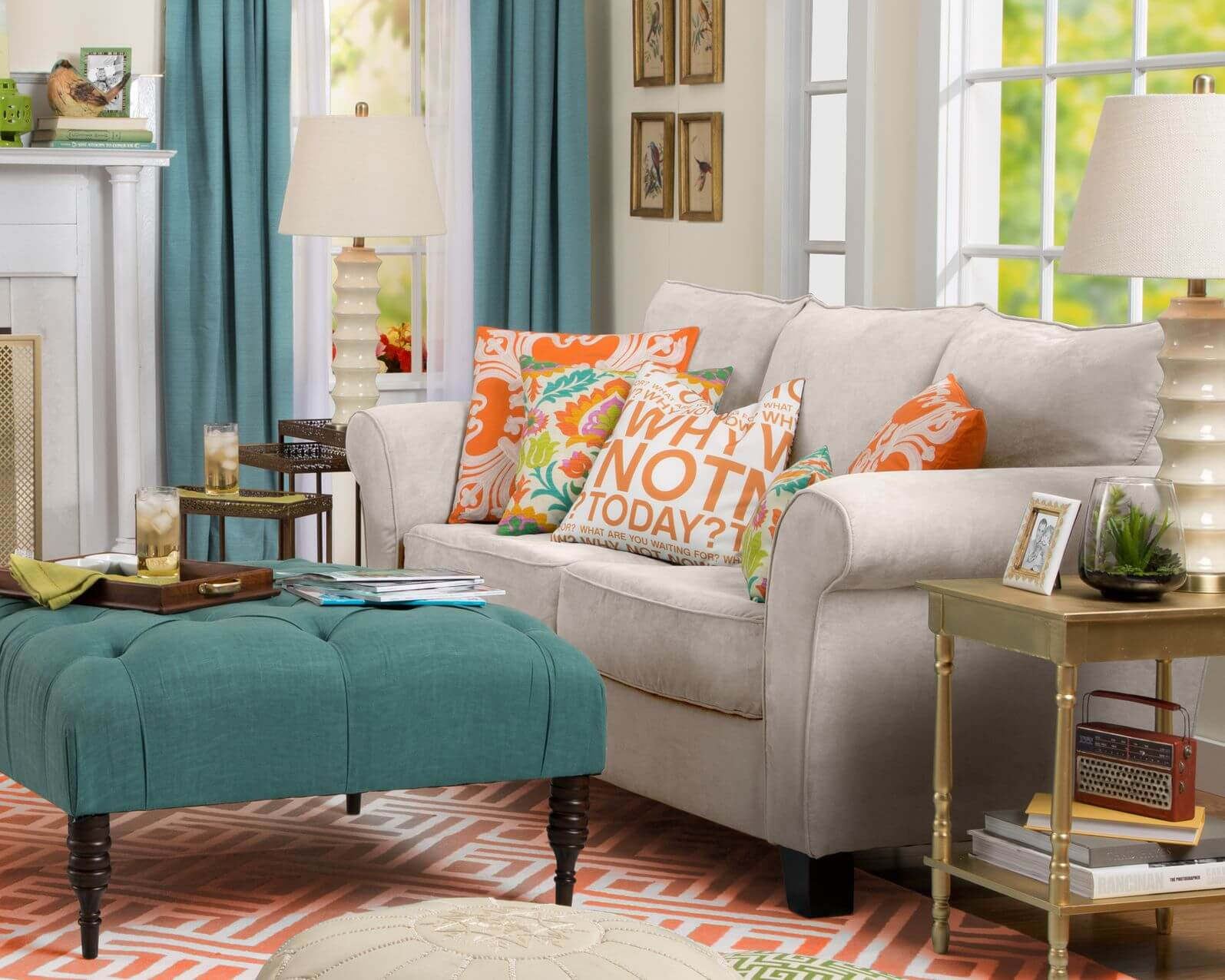 Bright Contrasting Color Patterns Throughout This Living Room