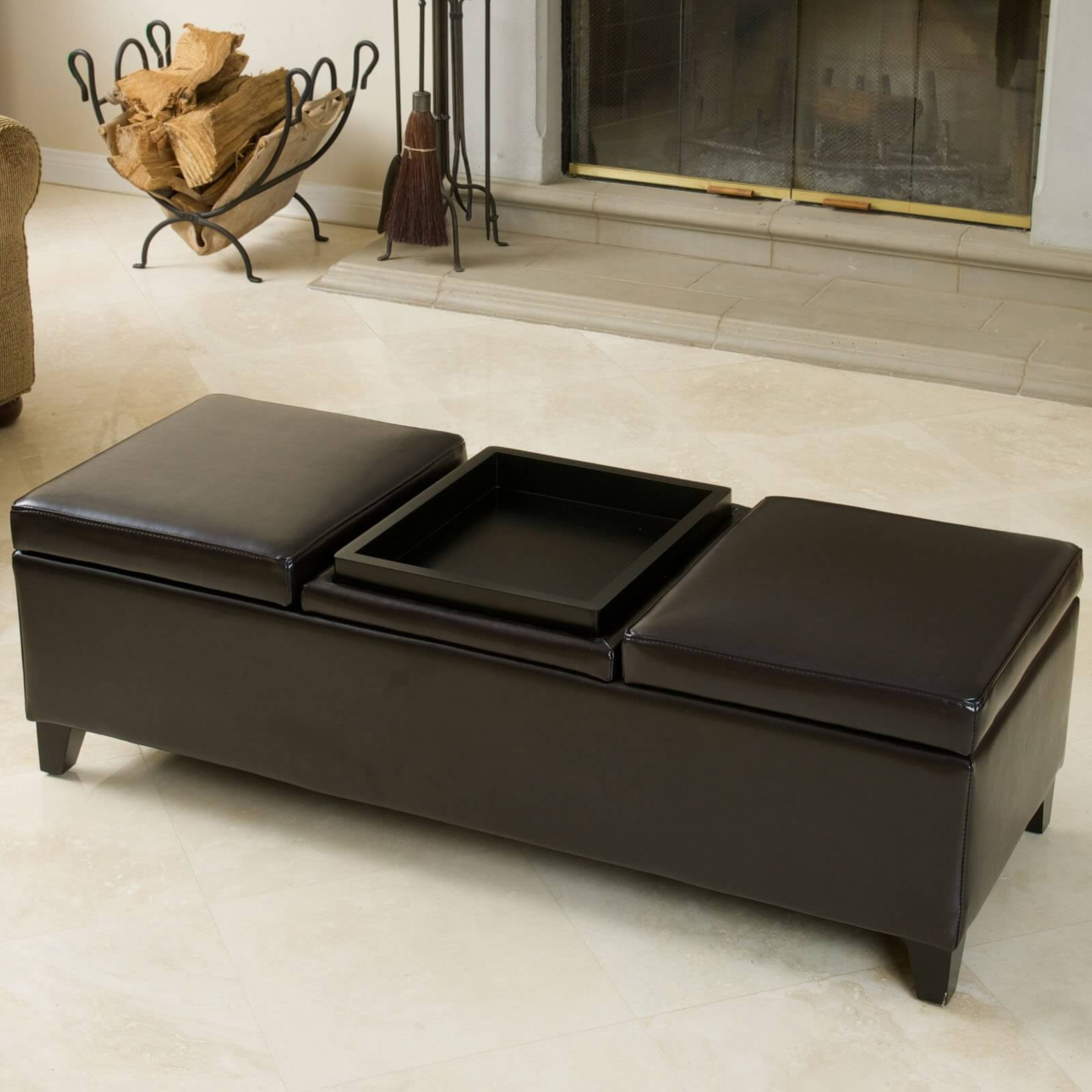 Topped Bench Ottoman Features Flippable Center Cushion For Tray Table